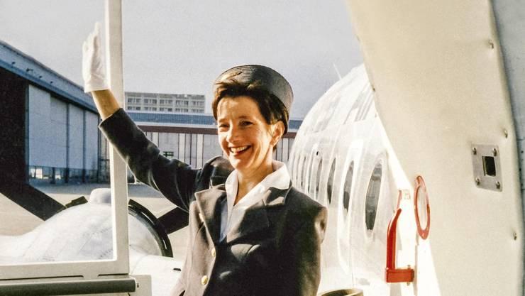 Aus dem Fotoarchiv: Anlässlich der ersten Swissair-Nordatlantiküberquerung 50 Jahre zuvor flog Greta Gantenbeim 1997 mit der Propellermaschine DC4 nach New York.