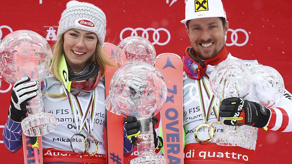 Mikaela Shiffrin und Marcel Hirscher posieren im März 2018 in Are mit ihren Kristallkugeln - setzen sich die Superstars auch bei der WM durch?