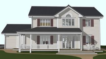 So wird das Haus aussehen, das SVP-Regierungsrat Alex Hürzeler bei der deutschen Firma Greenville bestellt hat. Visualisierung/HO