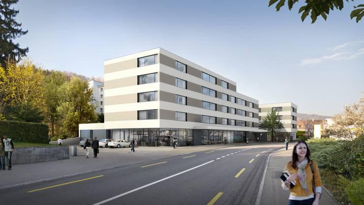 In etwa so stellen sich die Investoren die Überbauung an der Bruggerstrasse vor, mit Blick Richtung Brugg...