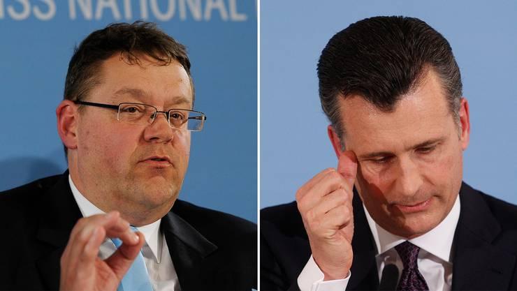 Wirtschaftsprüfer Daniel Senn (links) entlastete Ex-Nationalbank-Präsident Philipp Hildebrand (rechts). Er selber soll ähnliche Fehler begangen haben.