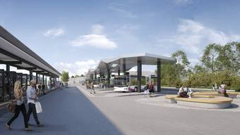 Der neue Bahnhofplatz mit Bushof scheint den Wohlern zu gefallen. (Visualisierung)