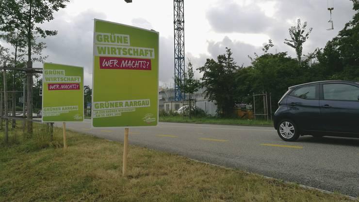 Grüne Abstimmungsplakate in Aarau – noch ohne den Namen von Regierungsratskandidat Robert Obrist.