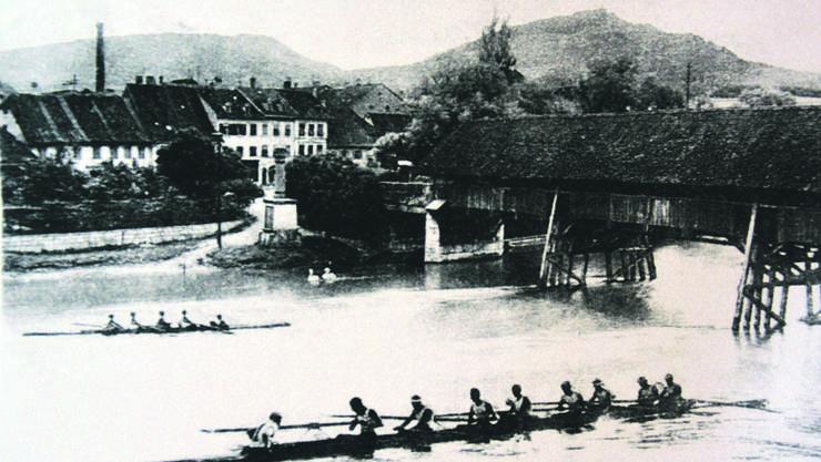 Als in Olten noch um die Wette gerudert wurde: Postkarte aus den 1920-er Jahren.