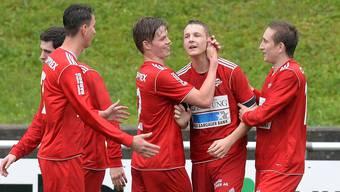 Jubel um Badens 1:0-Torschütze Joel Geissmann (2.v.r.). Alexander Wagner