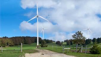 Visualisierung des Windkraftwerks Montoz-Pré Richard.