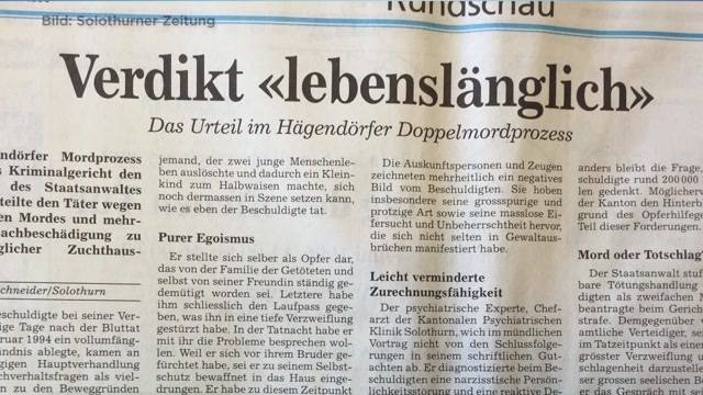 Solothurner Regierung verteidigt Entlassung von Doppelmörder