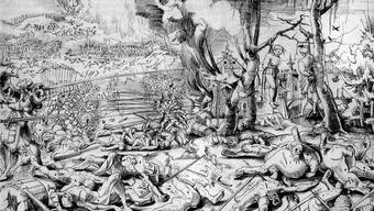 Schrecken des Krieges – so sah Urs Graf (1521) das Schlachtfeld von Marignano. Der kraftstrotzende Schweizer stärkt sich aus der Feldflasche (links), man beachte, wohin seine Lanze zeigt.