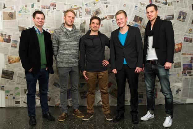 (v.l.): Pascal Walter (Co-Präsident CVP Solothurn), Roman Lerch (Filmkomponist), Christoph Stuber (Kulturmanager), Dennis Drews (Moderator), Pascal Weber (Chicorée).