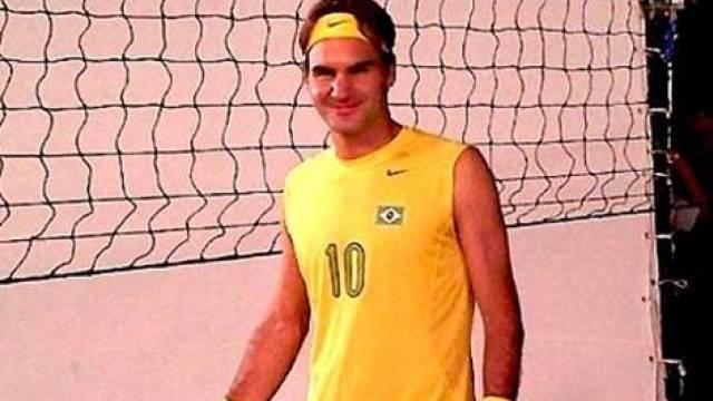 Vor Exhibition gab Federer auf Volleyballfeld gute Figur ab
