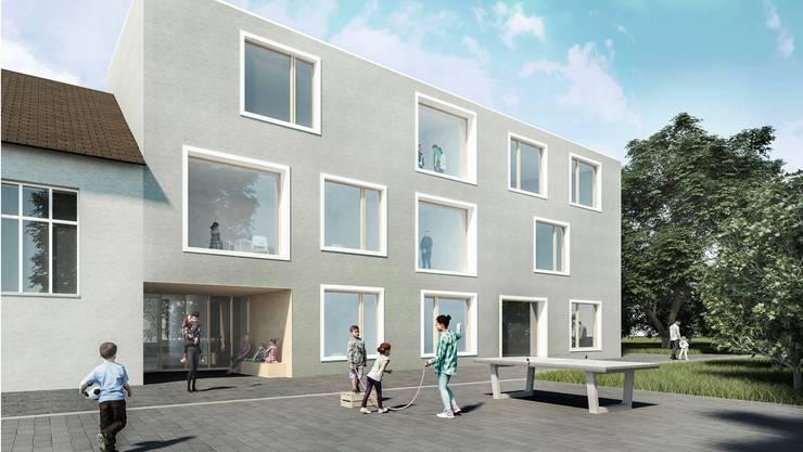 Hohe Fenster und flexible Räume: So soll der Anbau an die Turnhalle Träff aussehen.