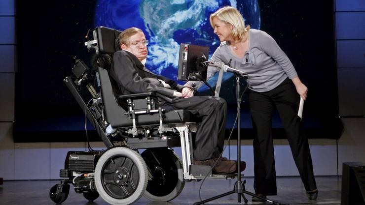 Der Astrophysiker und seine Tochter Lucy bei einer Präsentation in Washington DC