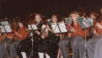 Das Korps 1979 am 4. Aargauer Jugendmusiktag in Wettingen.zvg