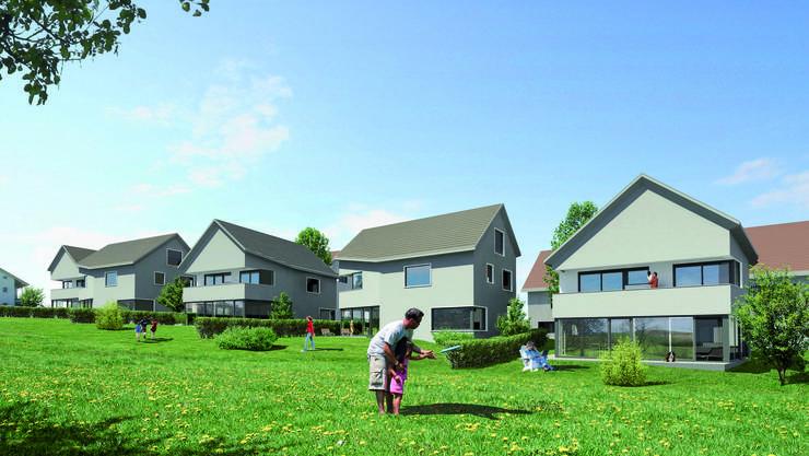 Rudolfstteten: Visualisierung der Neuüberbauung, die fünf Einfamilien- und vier Mehrfamilienhäuser umfasst.