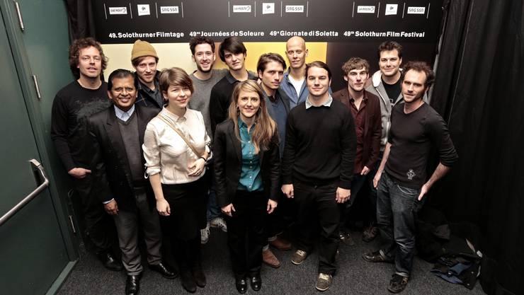 Seraina Rohrer inmitten junger Schweizer Regisseure und Schauspieler, deren Kurzfilme an der Projection spéciale gezeigt wurden.