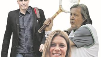 Der ehemalige griechische Finanzminister Yanis Varoufakis, TV-Köchin Sarah Wiener und ehemalige Tennis-Nummer-1 aus Rumänien, Ilie Nastase (v.l).