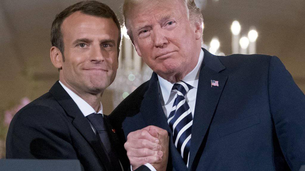 US-Präsident Donald Trump (rechts) und Frankreichs Präsident Emmanuel Macron haben sich auf eine gemeinsame Position bezüglich Syrien verständigt. (Archivbild)