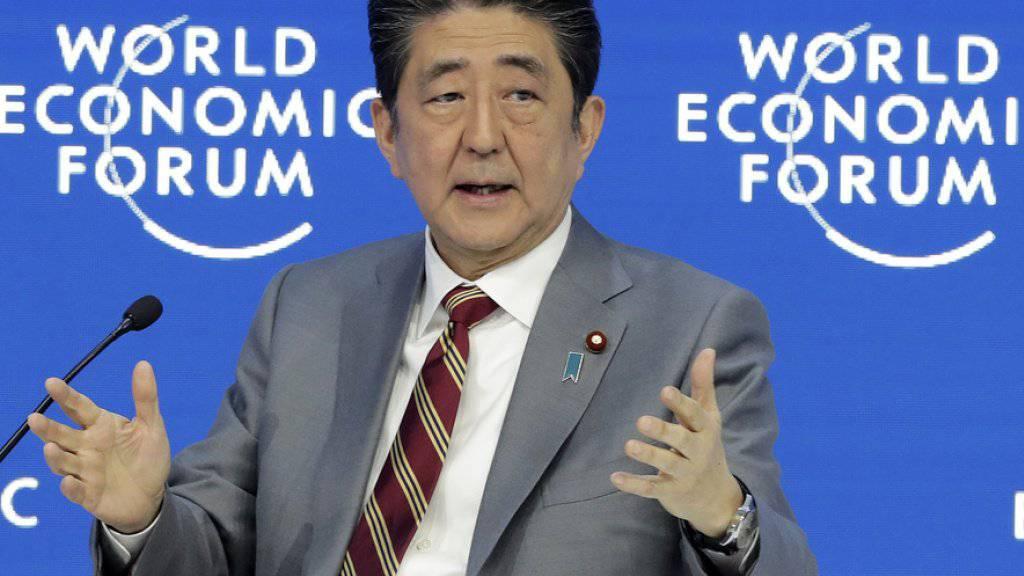 Japans Ministerpräsident Shinzo Abe am Mittwoch am WEF in Davos.