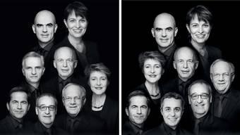 Das neue (mit Ignazio Cassis) und das alte Bundesratsfoto (mit Didier Burkhalter).