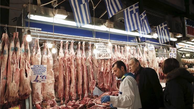 Die Fahnen täuschen: 75 Prozent des in Athen verkauften Fleisches ist Importware.Alkis Konstantinidis/Reuters