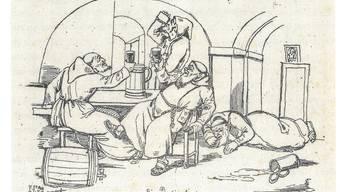 Karikatur im «Gukkasten» von 1842. Sie zeigt Kapuziner beim Saufgelage. ZVG