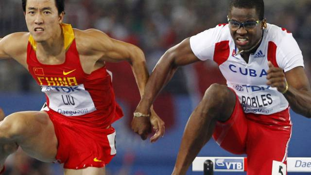Dayron Robles berührte nach der letzten Hürde Liu Xiang
