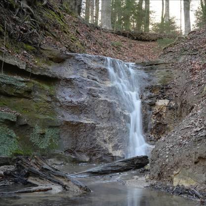 Stoffelbach-Wasserfall am Brüggliweg in Dietikon. Foto vom 29. Jan. 2018  16:17 PS: Der Link ihrer Webseite geht immer noch auf den Monat Dezember.