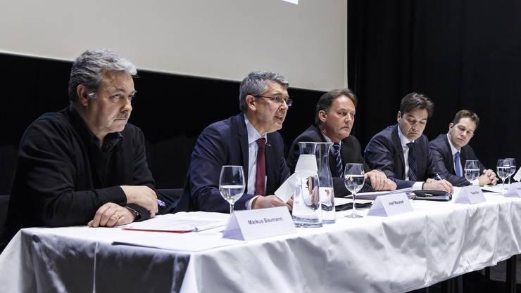 Historischer Kompromiss zur Steuervorlage 17: v.l. Markus Baumann (Präsident), Josef Maushart (Vorstand), Thomas Blum (Geschäftsführer), Francois Scheidegger (Vorstand), Christian Werner (Vorstand).