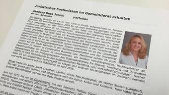 Der Flyer für ihre Wiederwahl hat Vanessa Duss Jacobi offenbar nichts genützt.
