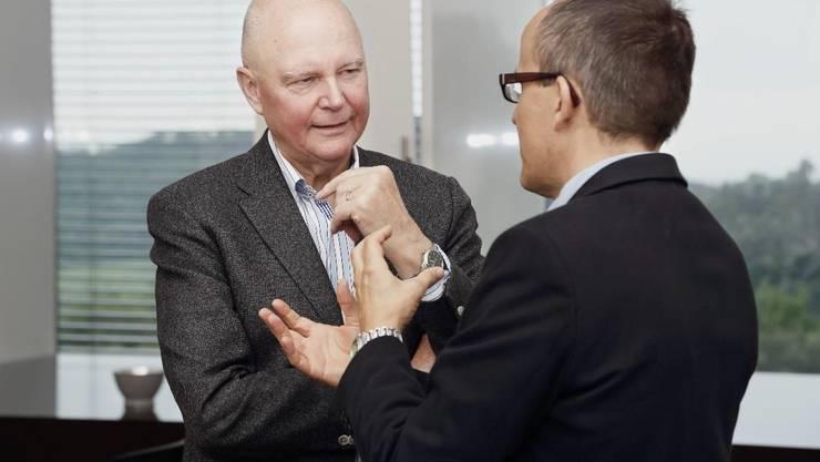 Dr. Rudi Gasser, Rauchfrei-Experte aus Australien (links), im Gespräch mit Dr. med. Thomas Sigrist, Leitender Arzt Pneumologie der Klinik Barmelweid.
