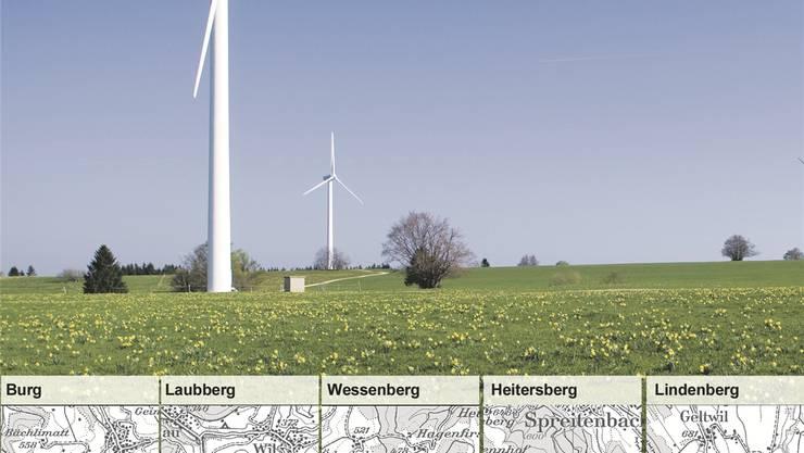Die blauen Linien und Kreise zeigen die Standorte im Richtplan für künftige Windparks im Aargau. Die Gebiete liegen teilweise im Wald. Keystone