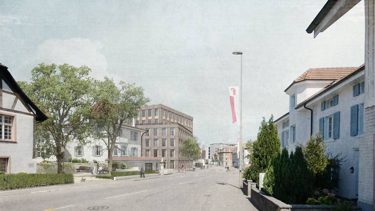 Das neue Gemeindehaus in Oberwil von Westen aus.
