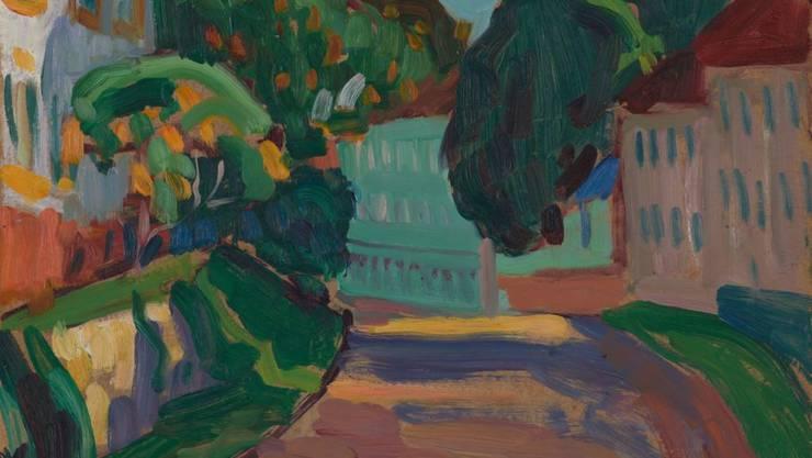 """Das Kunstmuseum Basel hat das 1908 entstandene Gemälde """"Griesbräu. Obere Hauptstrasse in Murnau"""" der deutschen Expressionistin Gabriele Münter aus einer Schweizer Privatsammlung erworben."""