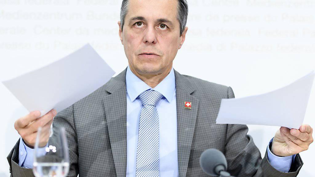 Kann in der Frage für ein neues Rahmenabkommen auf das Volk zählen: Aussenminister Ignazio Cassis.