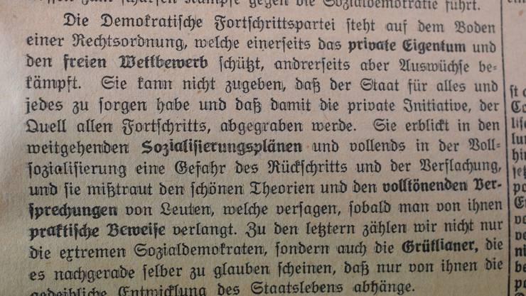 In derselben Ausgabe der bz publizierte die neu vereinte FDP (hier noch Demokratische Fortschrittspartei) ihr Parteiprogramm, das schon damals auf freien Wettbewerb setzte und gegen Verstaatlichung war.