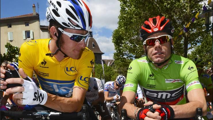 Tour-Favoriten unter sich: Bradley Wiggins (l.) und Cadel Evans unterhalten sich am Dauphiné Libéré