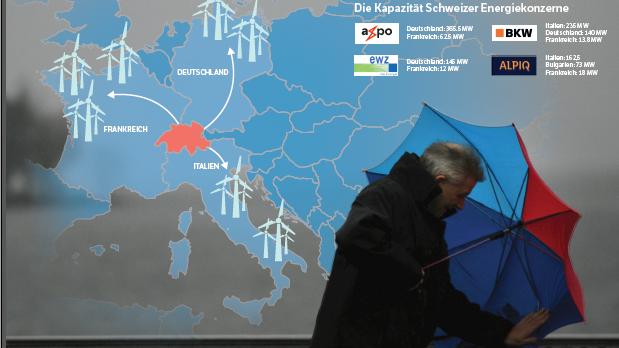 Schweizer Energiekonzerne investieren zunehmend in europäische Windparks.