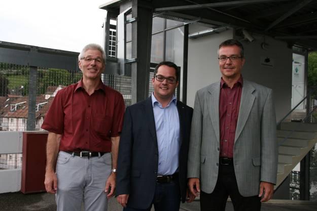Renato Good, Parkhaus-Verantwortlicher der Stadt, Stadtrat Roger Huber und Christoph Umbricht, CEO Regionalwerke AG Baden, freuen sich über die gelungene Sanierung