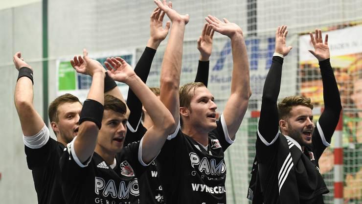 Ex-Captain Patrick Romann (Zweiter von rechts) hat den HSC Suhr Aarau ende vergangene Saison.