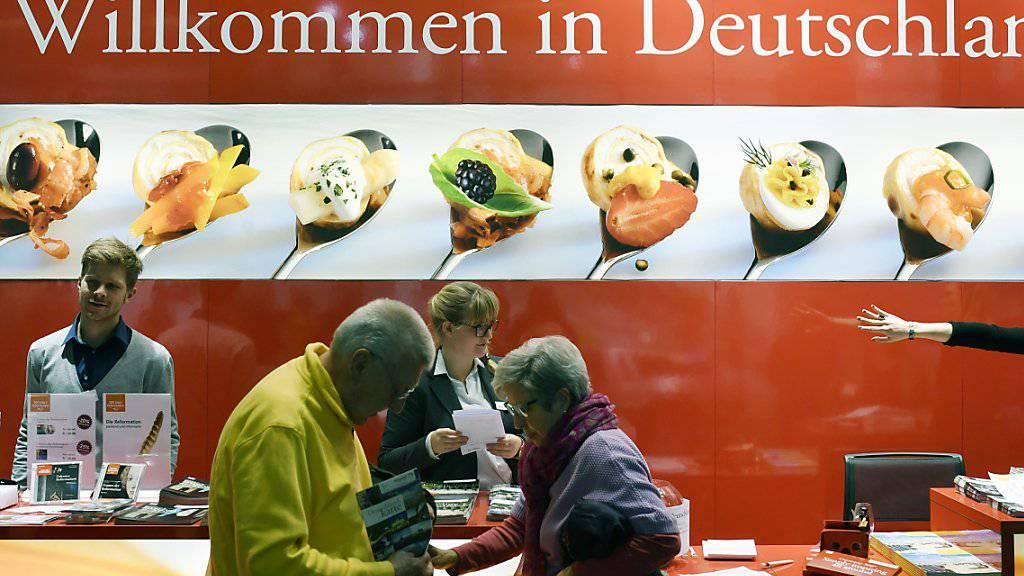 Auftritt von Deutschland an der Ferienmesse Fespo in der Messe Zürich im Januar 2017. Die Schweiz ist für den Tourismus in Deutschland einer der zehn wichtigsten europäischen Quellmärkte.