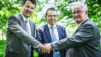Die Aargauer Bürgerlichen gehen eine Listenverbindung ein. Im Bild die Parteipräsidenten Thomas Burgherr (SVP), Matthias Jauslin (FDP) und Markus Zemp (CVP). Ziehen BDP, GLP und EVP nach?