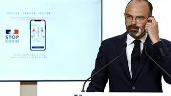 """Frankreichs Premierminister Edouard Philippe bei der Vorstellung der Coronavirus-Warn-App """"StopCovid"""" Ende Mai. Seit dem Start der App am Dienstag haben bereits eine Million Franzosen die Anwendung aktiviert."""