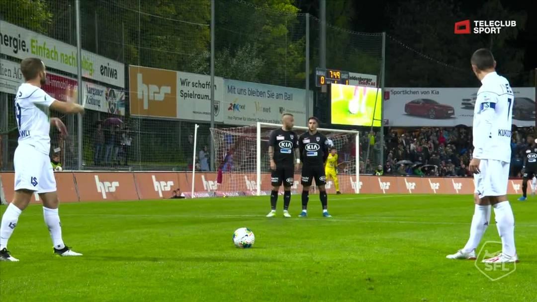 Challenge League 2019/20, 11. Runde: FC Aarau -  FC Lausanne-Sport,  8. Minute