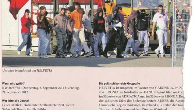 «Unruhen in und rund um Helvetia»: Die Stabsrahmenübung Stabilo Due (Ausriss).