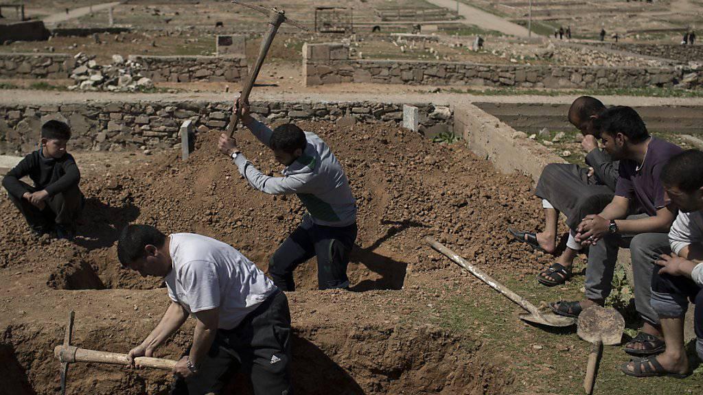 Aushebung von Gräbern in Mossul für die vielen Toten