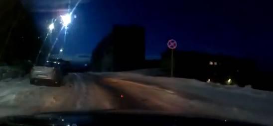 Die Dashcam filmt den Meteorit, kurz bevor er verglüht...