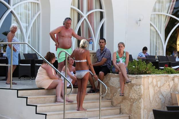 Verunsicherte Urlauber in Sousse.