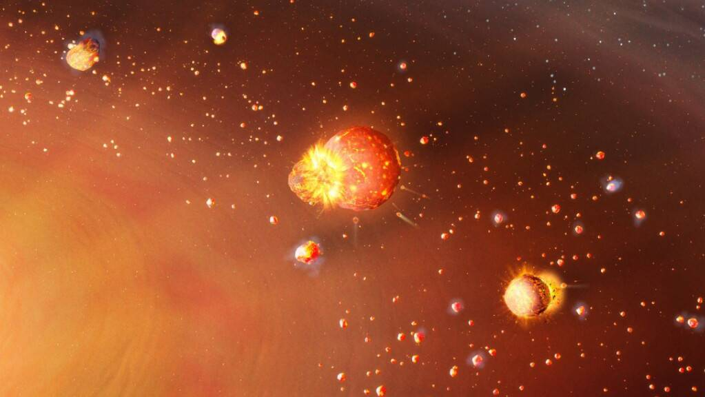 Eine künstlerische Darstellung des frühen Sonnensystems: Die inneren Planetenbausteine erbten viel radioaktives Aluminium-26, wodurch sie aufgeheizt wurden und die flüchtigen Elemente verloren. Ein anderes Bild zeigte sich bei den später gebildeten äusseren Planeten, wie eine neue Studie zeigt.