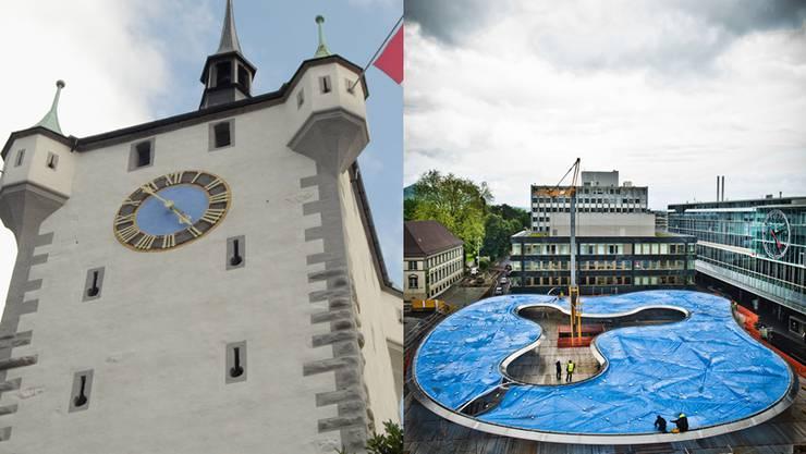 Baden (links) überzeugt durch ein breites Kulturangebot und den attraktiven Arbeitsmarkt, Aarau ist betreffend Mobilität im Kanton top.
