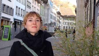Junge Volksvertreterin Die Grossrätin Irène Kälin in der Rathausgasse.Fritz Thut
